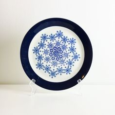 """Rare big vintage Arabia Finland blue flower ceramic plate named """"Heisi """", made in Finland in 1964 by FinnishVintageOasis on Etsy"""