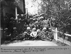 Commander-in-chief Wrangel with the 5th Khopiorskaya company of the 1st Consolidated Kuban rgt. Mountain pass Besna Kobila (Serbia), may 10, 1923.