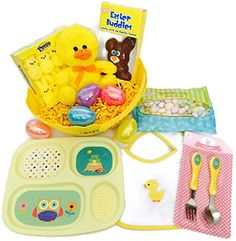 Baby's First Easter Basket Bundle Includes Plush Bunny, Chocolate Bunny, Peeps, Jelly Beans, Divided Dish Set, Bib, Plastic Eggs, Filler Grass and Basket Combination http://www.amazon.com/dp/B01CC7XBXQ/ref=cm_sw_r_pi_dp_eLG4wb0DX6X53
