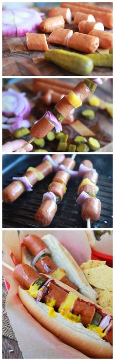 All-American Hot Dog Kabobs (totally doing this but subbing the yummy pineapple-bacon chicken sausage I bought for the hot dogs!)