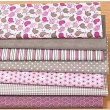 Lot de 7 coupons patchwork, rose/taupe