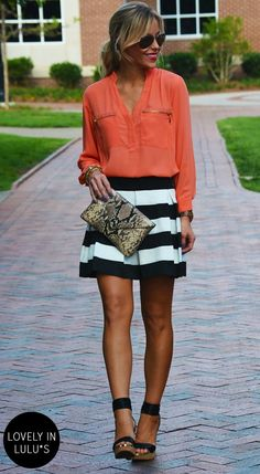 Happily Grey in LuLu*s Skinny Zipping Coral Top...I have this skirt, now I need to find a top like this!