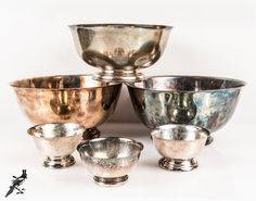 Silverplate Bowl Set of 6 Paul Revere Reproduction (and Unmarked) Silverplate Bowls by Wm Rogers & Oneida Vintage Silver Bowls Downton Abbey by TheCordialMagpie from Etsy. Find it now at http://ift.tt/1XKklaX!