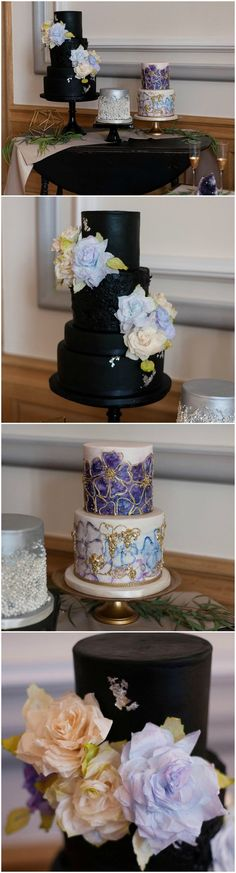 Black wedding cake, purple roses, silver fondant paint, sugar pearls, gold details, modern & glam // Autumn L. Rudolph Photography