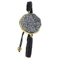Urban Posh Octagon Metallic Druzy Macrame Bracelet - Silver