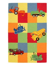 KAS Rugs Kidding Around 424 Trucks Galore Kids Area Rug - Every boy knows that trucks are awesome. The Kidding Around 424 Trucks Galore Rug features several different kinds of trucks on a multi-colored block . Yellow Area Rugs, Beige Area Rugs, Kids Area Rugs, Retro Robot, Clearance Rugs, Dogs And Kids, Machine Made Rugs, Farmhouse Rugs, Throw Rugs