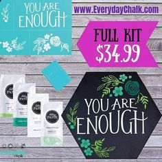 Sometimes we need the simple reminder You Are Enough. This kit is perfect for yourself and anyone special in your life. #EverydayChalk #teamchalkheroes . . . . . #chalkcouture #chalkboard #chalkboardart #chalkart #crafty #diycraft #diyhomedecor #craftymom #creativepreneur #workingmom #bearolemodel #sassydirect #youareenough #simplysaid #diykit