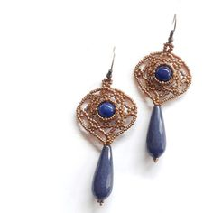 blue jade earrings, beadwoven blue earrings, blue semi precious stone,... (€14) ❤ liked on Polyvore featuring jewelry and earrings