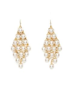 Diamond Shaped Pearl Earrings: Charlotte Russe