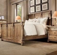 Lovin The Distressed Wood Furniture Set Restoration Hardware Bedding Panel Bed Guest Bedrooms