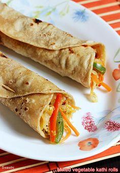 Veg kathi roll recipe for kids - Simple mix veg frankie recipe Lunch Box Recipes, Veg Recipes, Spicy Recipes, Indian Food Recipes, Vegetarian Recipes, Indian Snacks, Jain Recipes, Recipes Dinner, Delicious Recipes