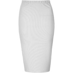 White And Black Pinstripe Pencil Skirt ($24) ❤ liked on Polyvore featuring skirts, bottoms, black, mid calf pencil skirt, calf length skirts, midi skirt, pencil skirt and bodycon skirt