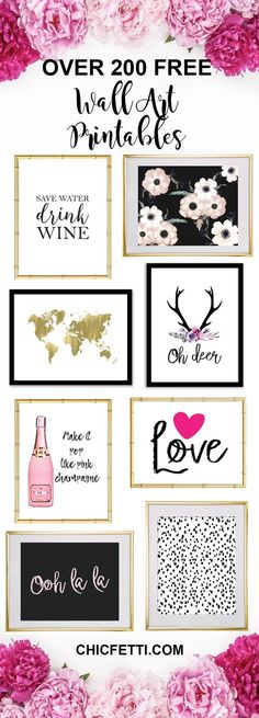 Over 200+ Free Printable Wall Art from @chicfetti - easy wall art diy - Just print and frame!