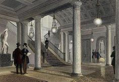 Athenaeum Club, London - The hall of the club in 1841. The statue of Venus can be seen in its present position on the far wall, but the two statues seen on either side of the staircase were later removed