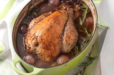 Try roasting a flavoursome guinea fowl in red wine infused with fresh rosemary, shallots, porcini mushrooms and pancetta, as a great alternative to the French classic coq au vin.