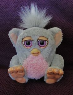 I WANT!!  2005 BABY FURBY By TIGER ELECTRONICS HASBRO EMOTOTRONIC GREY/PINK  #TigerElectronics