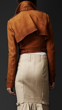 I had to show this jacket from the back due to the way it sits, it's incredible. Made out of Nubuck this Cropped Flight Jacket by Burberry fits the body like a glove.