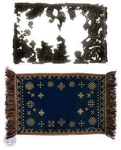 A picture of an ancient Latgalian shawl and its museum replica.  Gorgeous!