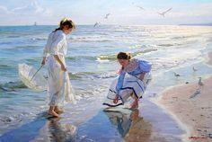 Girls on the beach by Alexander Averin