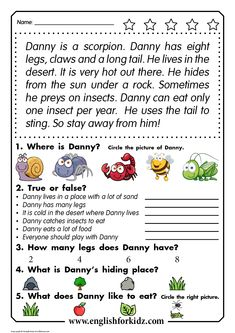 Reading comprehension for kids : Reading comprehension passage for kids learning English in elementary school English Activities For Kids, Learning English For Kids, English Worksheets For Kids, English Lessons For Kids, Reading Worksheets, English Language Learning, Kids Learning, Language Arts, Kids English