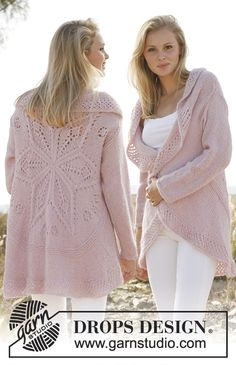 Knitted DROPS jacket worked in a circle with lace pattern in Alpaca and Kid-Silk. Size: S - XXXL.