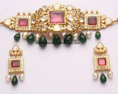 Gorgeous Kundan Choker Set with Emerald and pearl drops, Lovely Antique Kundan Kada