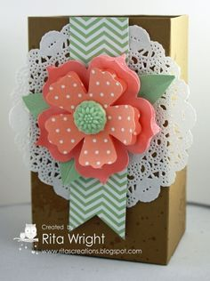 Stamps: Gorgeous Grunge Ink: Baked Brown Sugar Paper: Baked Brown Sugar, Crisp Cantaloupe, Pistachio Pudding, In Colors stack Accessories: Paper Doilies, In Color Boutique Details Tools: Simply Scored, Big Shot, Fun Flowers die