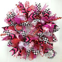 Deco Mesh Valentine's Day Wreath For Door or Wall Hearts Red Pink White Black Check Deco Mesh Ribbon, Deco Mesh Wreaths, Door Wreaths, Burlap Wreaths, Valentine Day Wreaths, Valentine Day Crafts, Valentines, Valentine Hearts, Valentine Ideas