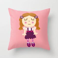 cute doll Throw Pillow by Milanesa - $20.00