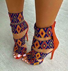 Orange blue multicolor high heels in a pattern