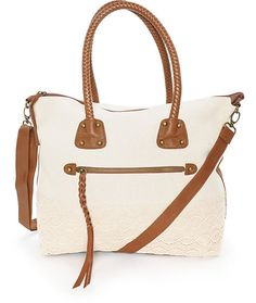This mixed canvas and crochet tote is finished with cognac synthetic leather detailing and features a roomy storage compartment with multi-pocket storage options to keep all your things stored and secure.