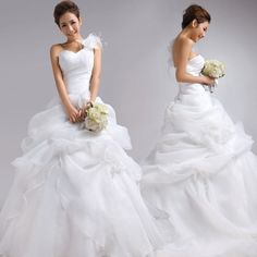 Strapless Ball Gown Organza wedding dress