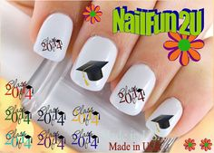 Nail Art Decals And Decoration Stickers 20 Graduation Cap Cl Of 2017 Double Image