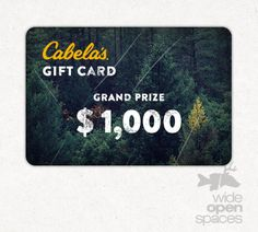 $2500 Cabelas Giftcard Giveaway from Wide Open Spaces: http://virl.io/TqLKWcS <<-- ENTER