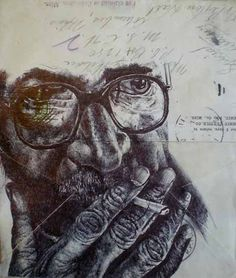 Mark Powell - Bic Biro Drawing on envelope. Biro Art, Biro Drawing, Ballpoint Pen Art, Pen Drawings, Pen Sketch, Sketches, Stylo Art, Mark Powell, Collages