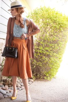 Outfit Of The Yesterday Swingy Chambray Gap Panama Fedora Too