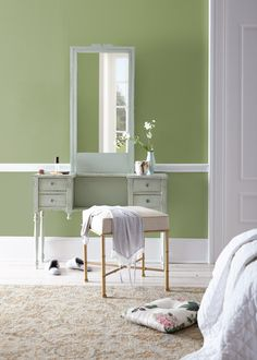 Color of the Month: Nurturing – Colorfully, BEHR - Pancakes Rezept Best Bedroom Colors, Bedroom Paint Colors, Bedroom Color Schemes, Interior Paint Colors, Hallway Decorating, Interior Decorating, Decorating Games, Behr Colors, Green Paint Colors