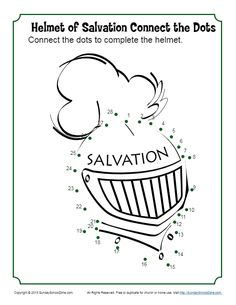 Helmet of Salvation Connect the Dots - Children's Bible Activities Bible Activities For Kids, Bible Crafts For Kids, Preschool Bible, Bible Study For Kids, Bible Lessons For Kids, Kids Bible, Church Activities, Group Activities, Kid Crafts
