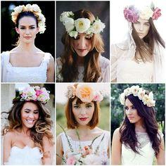 Peinados para novias modernos - Coronas de flores naturales