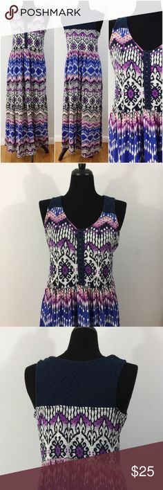 🍀LUCKY BRAND🍀 Colorful Lightweight Maxi Dress is been gently worn but in like new condition. The fabric content is 60% cotton in 40% modal. The bust measurement laying flat is approximately 20 inches from armpit to armpit. The length of the dress from shoulder to hem is approximately 56.5 inches. Lucky Brand Dresses Maxi