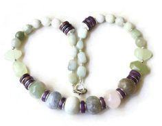 Pastel multi stone semiprecious statement necklace Big bold