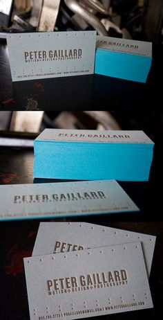Cool and well constructed business cards printed on French 200lb paper with a nice teal painted edge.