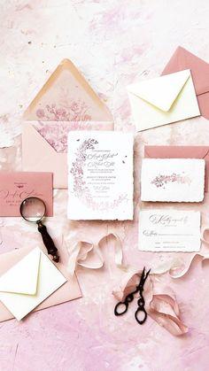 Foil & Ink | Wonderland invitation suite with ombré letterpress
