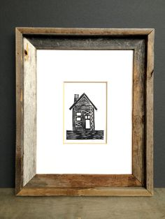 Linocut Print  House Illustration  Abstract Tribal by printwork