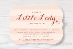 The Little Lady Baby Shower Invitations by The Social Type at minted.com