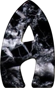 Alfabeto Decorativo: Alfabeto - Mármore Preto - PNG - Maiúsculas e Minú...