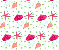 Shell play - LARGE raspberry lime punch fabric by drapestudio on Spoonflower - custom fabric