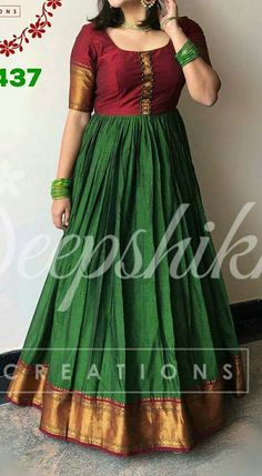 Dress Silk Saree 65 Ideas Source by latiss dress Long Gown Dress, Sari Dress, Frock Dress, Saree Gown, Sari Blouse, Long Dresses, Lehenga, Long Dress Design, Dress Neck Designs