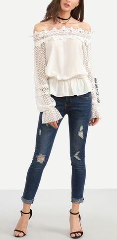 White Off The Shoulder Crochet Sleeve Blouse