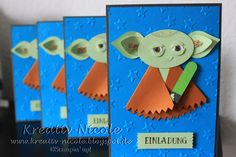 Eine #Auftragsarbeit für #Einladungskarten zum #Kindergeburtstag #Punch#Art #Yoda #Produkte von #StampinUp! #KreativNicole